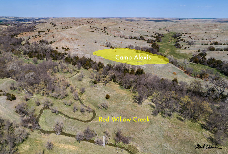 Aerial done view of site of Camp Alexis