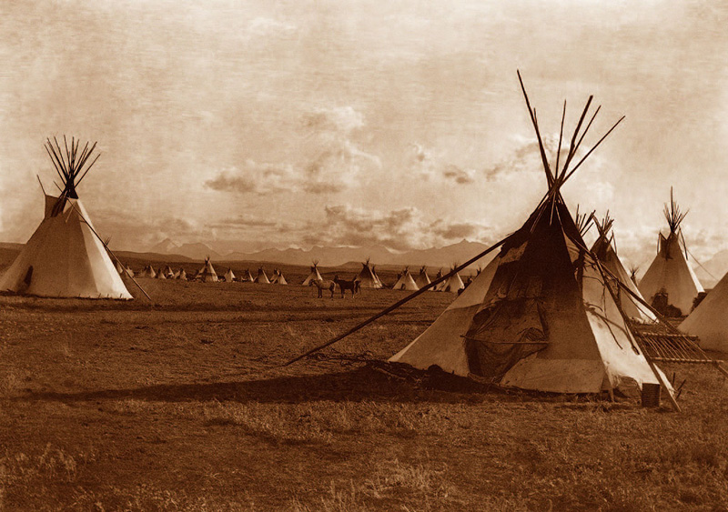 Edward Curtis photo of teepees